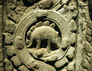 Representation of an animal looking like a stegosaurus - Cambodia temple 10th century A.D)