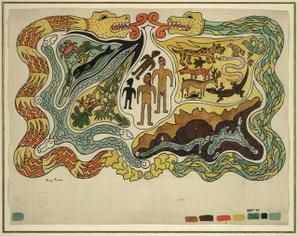 The Creation according to the Popol Vuh - by D. Rivera